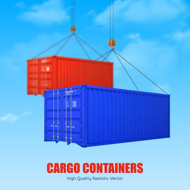 Cartel de contenedor de carga vector gratuito