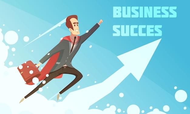 Cartel del crecimiento de la historieta simbólica del éxito empresarial con los empresarios sonrientes que suben para arriba aumentando el fondo gráfico de la flecha vector gratuito