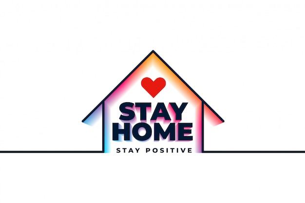 Cartel de cuarentena en casa con casa y corazón vector gratuito