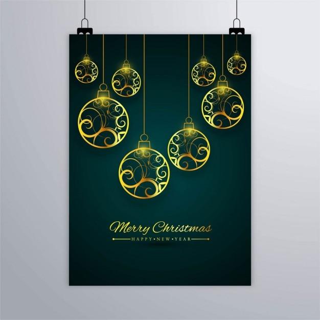 Cartel de bolas doradas de navidad descargar vectores gratis - Bolas de navidad doradas ...