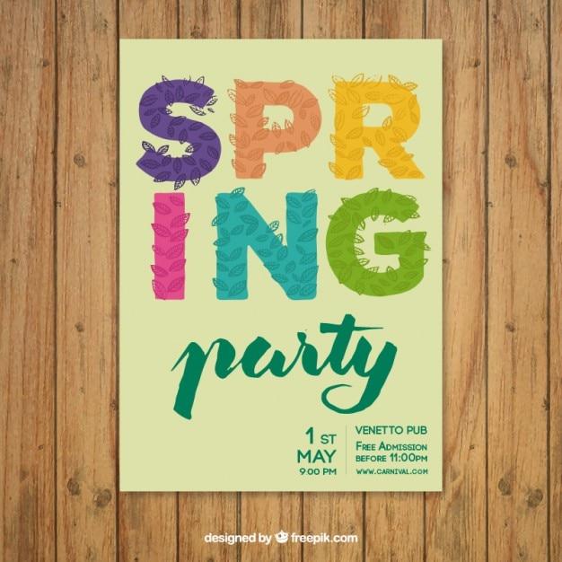 Cartel de fiesta de primavera con letras de colores y hojas ...