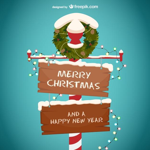 cartel de madera de feliz navidad y feliz a o nuevo