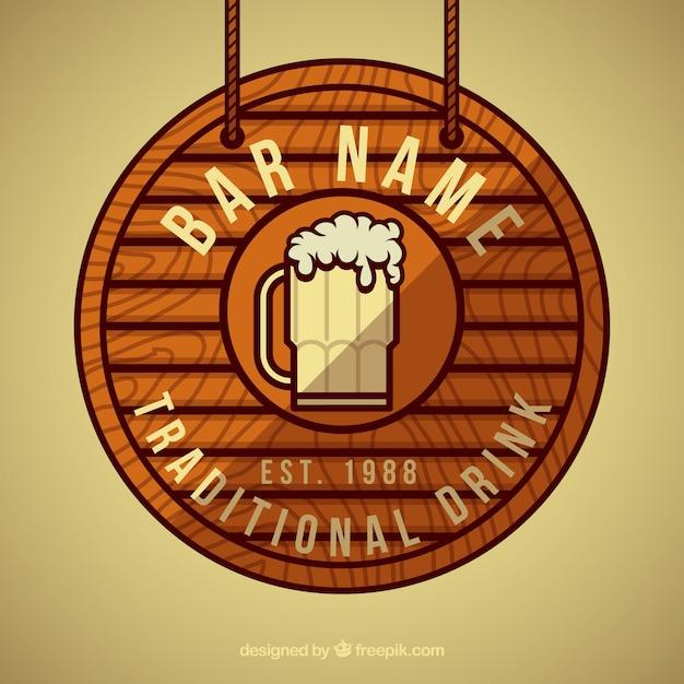 Cartel de madera redondo de cerveza descargar vectores for Antecomedores redondos madera