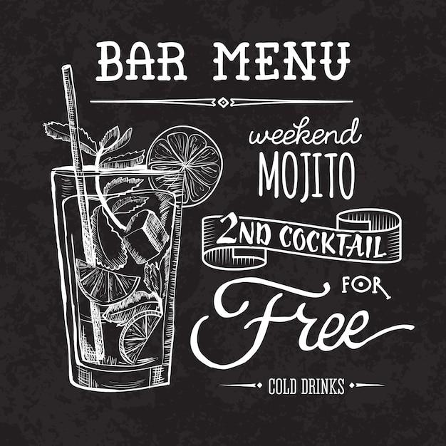 Cartel de men de bar sobre pizarra descargar vectores premium - Pizarras de bar ...