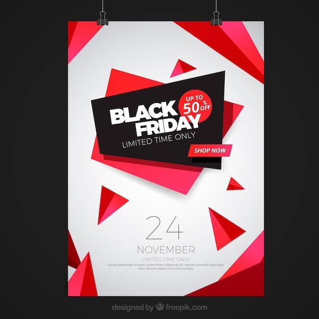 Cartel de viernes negro con formas abstractas  Vector Gratis