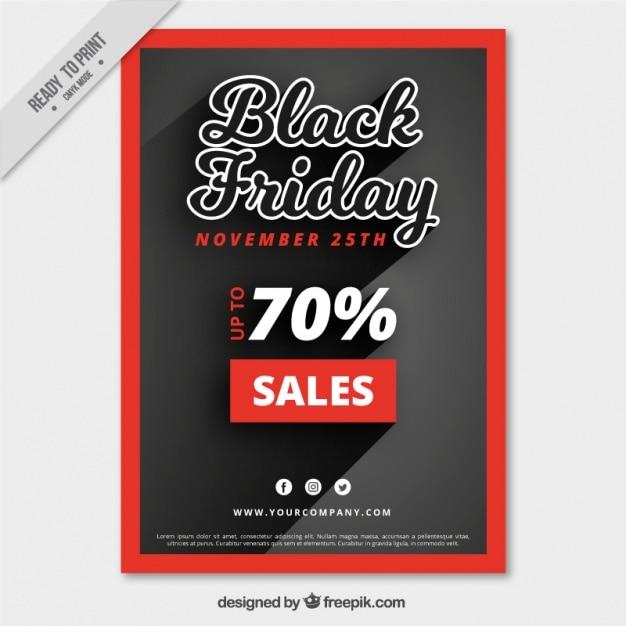 Cartel del viernes negro con un marco rojo | Descargar Vectores gratis