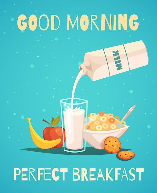 Cartel desayuno perfecto en estilo retro vector gratuito