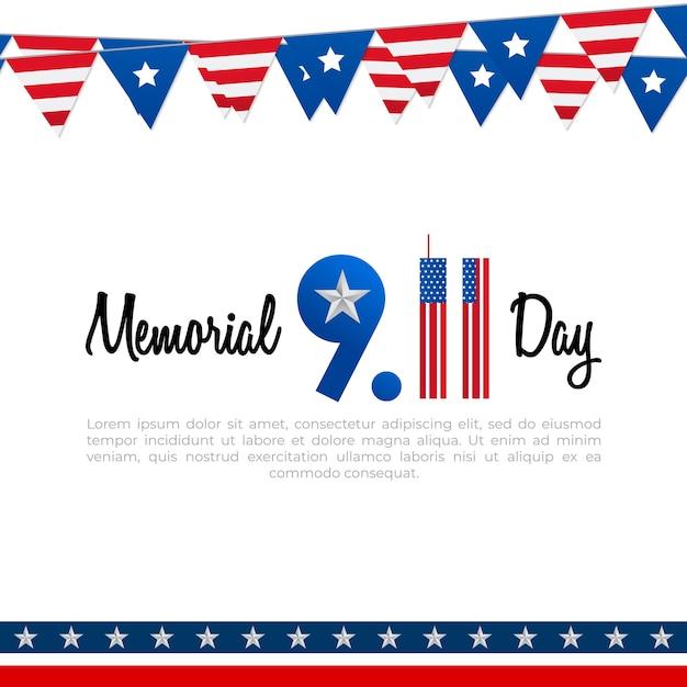 Cartel del día conmemorativo 911 con bandera estadounidense ...
