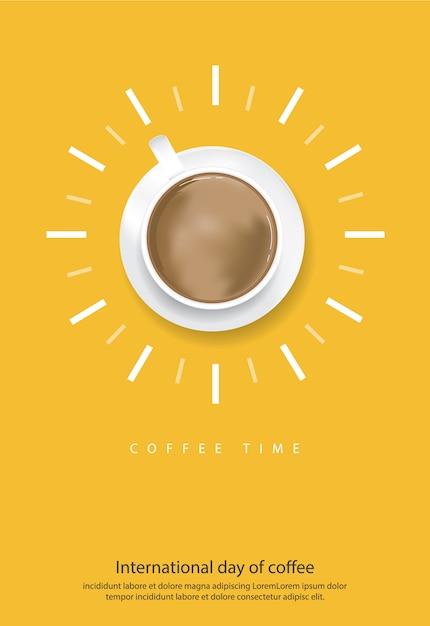 Cartel del día internacional del café ilustración vectorial vector gratuito