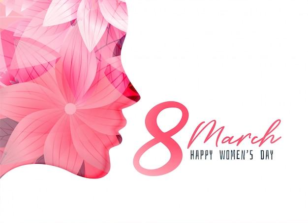 Cartel del día de la mujer con rostro de niña hecho con flor. vector gratuito