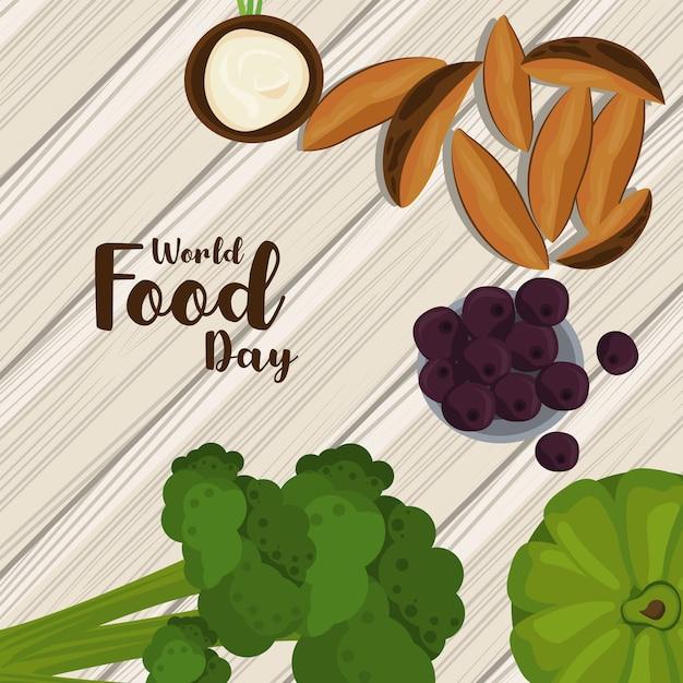 Cartel Del Dia Mundial De La Alimentacion Con Verduras En Madera Diseno De Ilustraciones Vector Premium