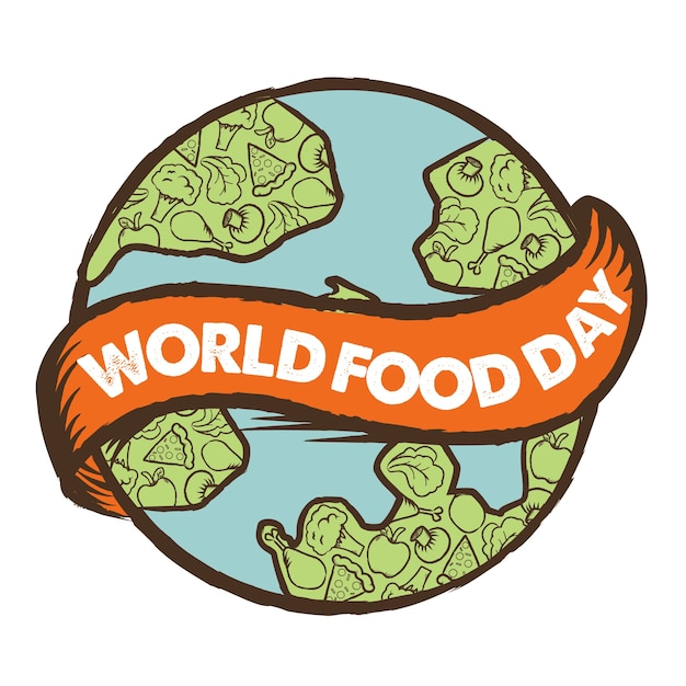 Cartel Del Dia Mundial De La Alimentacion Vector Premium