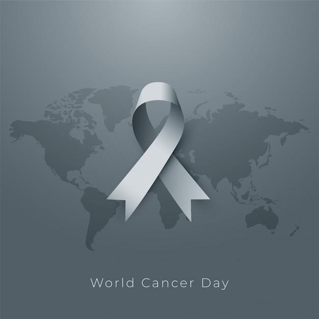 Cartel del día mundial del cáncer en tono gris vector gratuito