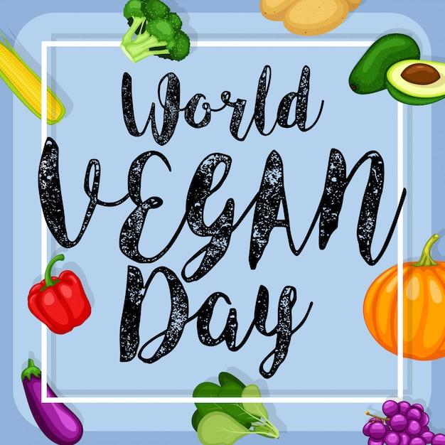 Cartel del día mundial vegano con fondo de verduras diseño plano Vector Premium
