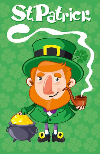 Cartel del día de san patricio de dibujos animados con pipa de leprechaun y caldero con monedas de oro en la ilustración de vector de fondo de trébol verde vector gratuito