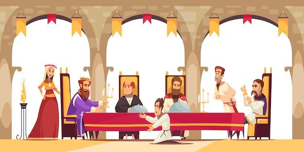 Cartel de dibujos animados del castillo con el rey sentado en el trono rodeado de su séquito y ciudadano pidiendo ilustración de rodillas vector gratuito