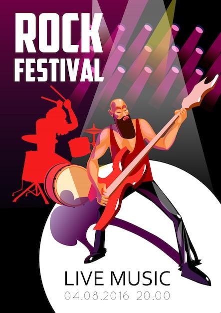 Cartel de dibujos animados del festival de rock vector gratuito