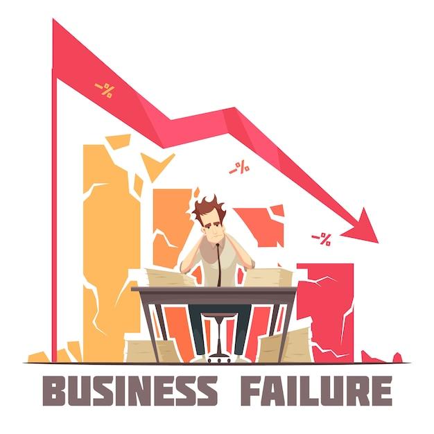 Cartel de dibujos animados retro fracaso empresarial con empresario frustrado sentado en la oficina bajo diagrama descendente ilustración vectorial flecha Vector Premium