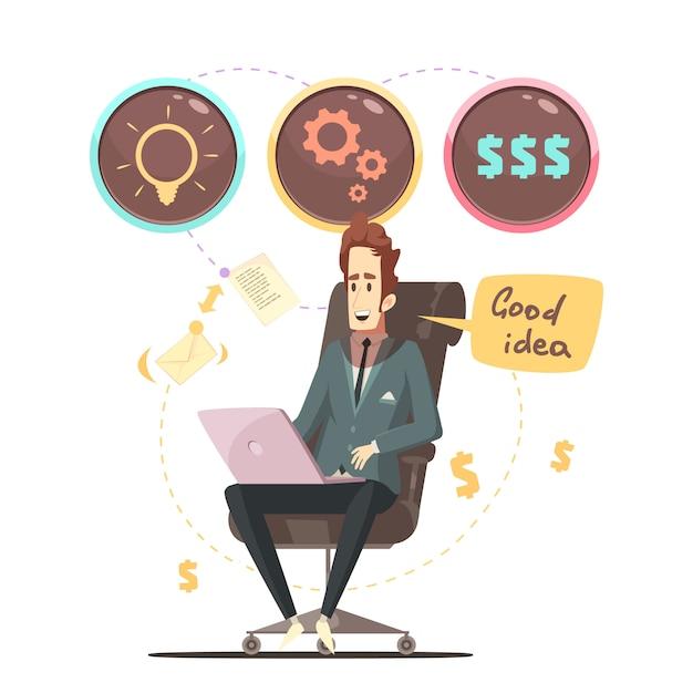 Cartel de dibujos animados retro de idea de negocio vector gratuito