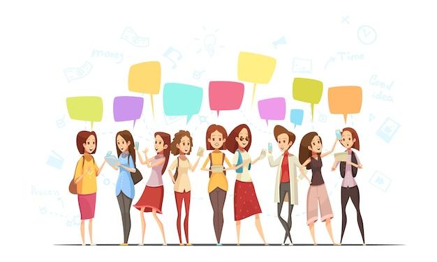 Cartel de dibujos animados retro en línea de comunicación de personajes adolescentes niñas con símbolos de dinero y burbujas de mensajes de chat ilustración vectorial vector gratuito