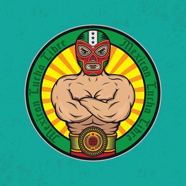 Cartel de diseño de la lucha libre mexicana. | Vector Premium