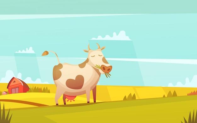 Cartel de divertidos dibujos animados de las tierras de labrantío del rancho de vacas y terneros con una granja en el fondo vector gratuito