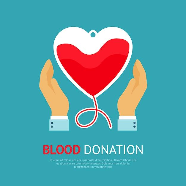 Cartel de la donación de sangre vector gratuito