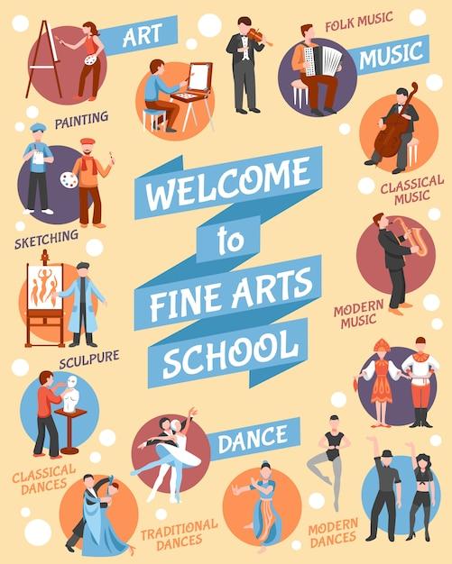 Cartel de la escuela de bellas artes vector gratuito