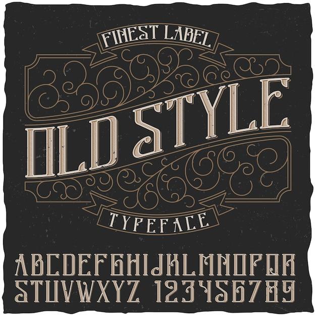 Cartel de estilo antiguo con la mejor etiqueta y la ilustración del alfabeto vector gratuito