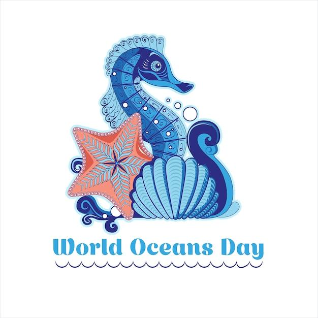 Cartel en el estilo de hecho a mano con una ola, caballito de mar, estrellas de mar y un caparazón para el día mundial del océano Vector Premium