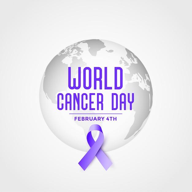 Cartel del evento del día mundial del cáncer con fondo de cinta vector gratuito