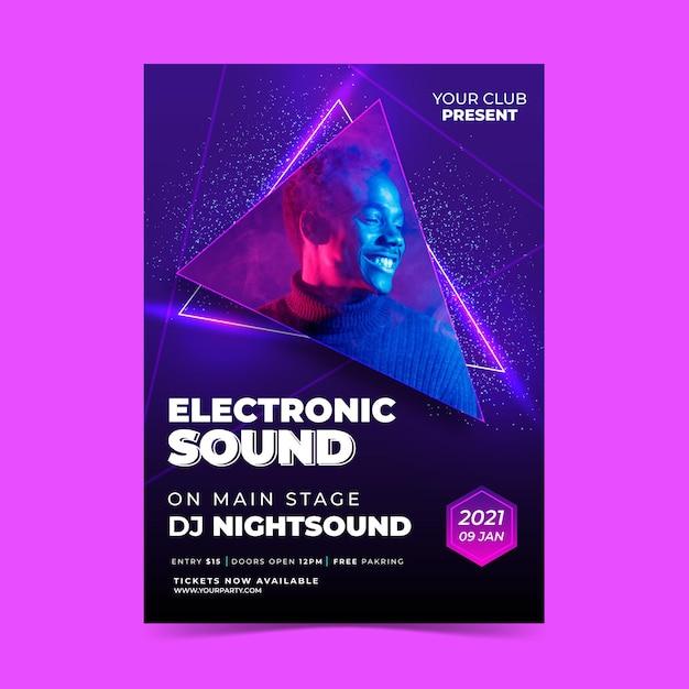 Cartel del evento musical 2021 con foto Vector Premium