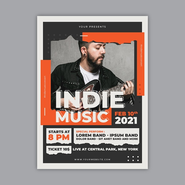 Cartel del evento musical 2021 con foto vector gratuito