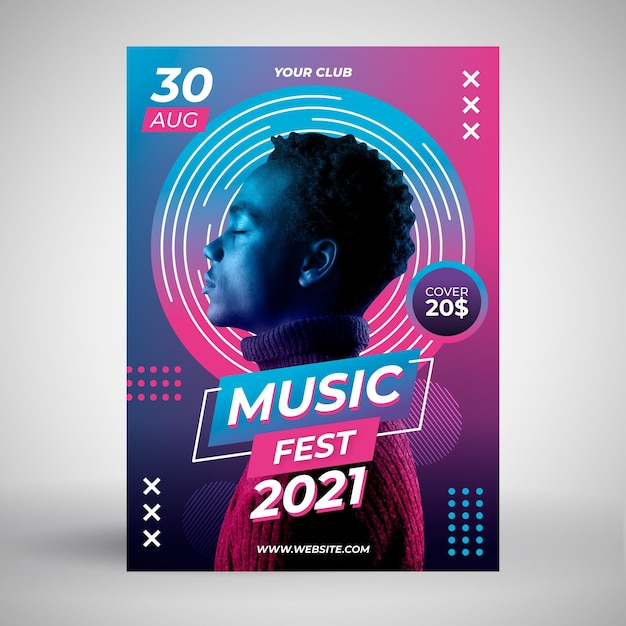 Cartel del evento musical 2021 vector gratuito