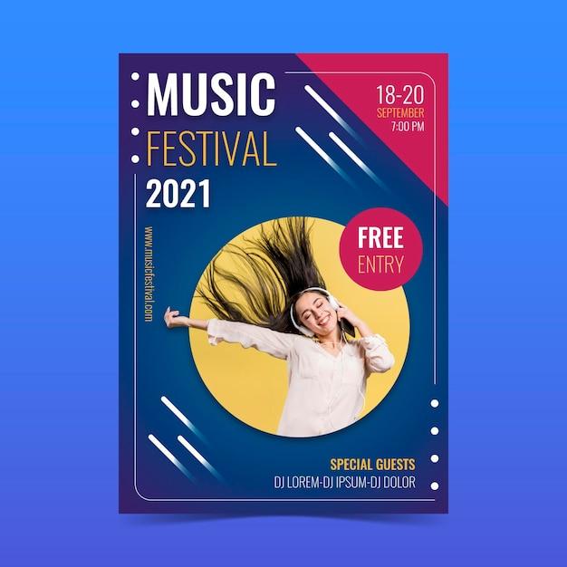 Cartel del evento musical 2021 vector gratuito