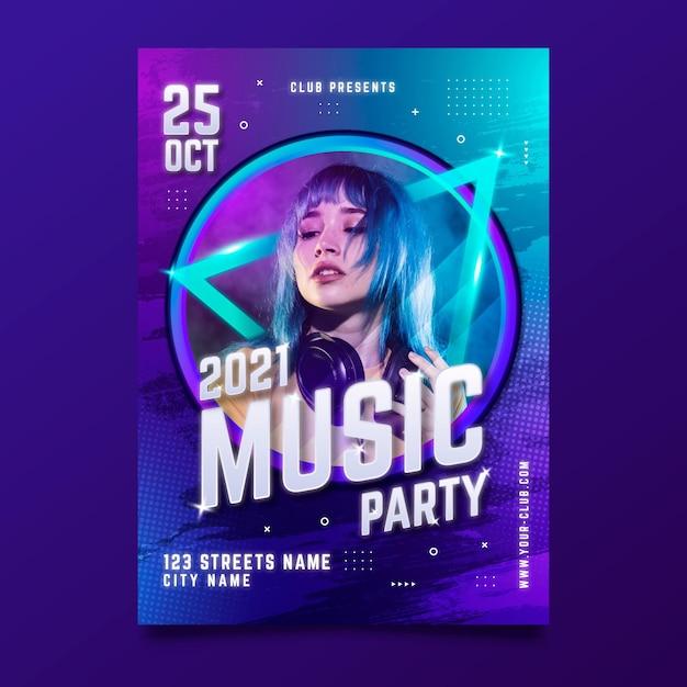 Cartel del evento musical con foto para 2021 vector gratuito