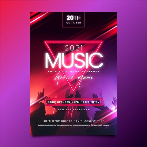 Cartel de evento musical con foto vector gratuito