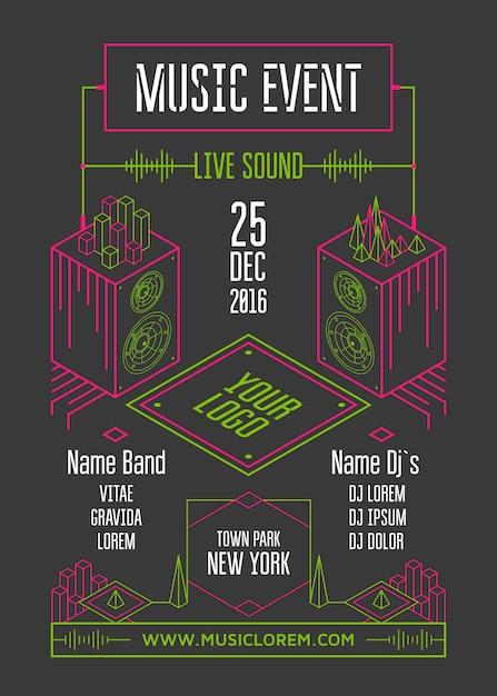 Cartel de evento musical Vector Premium