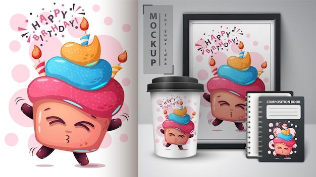 Cartel de feliz cumpleaños y merchandising Vector Premium