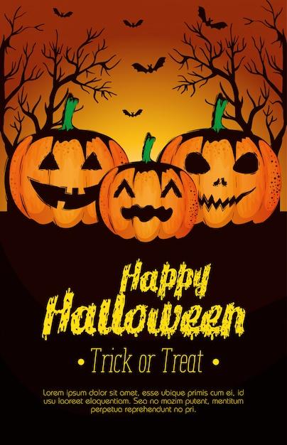 Cartel feliz halloween con calabazas vector gratuito