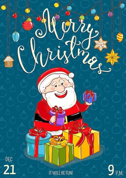 Cartel de feliz navidad para promoción de fiestas navideñas Vector Premium