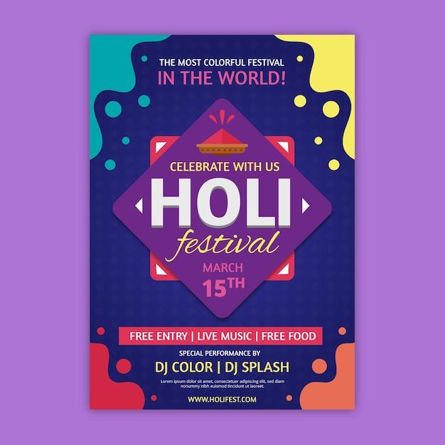 Cartel de festival holi colorido efecto líquido vector gratuito