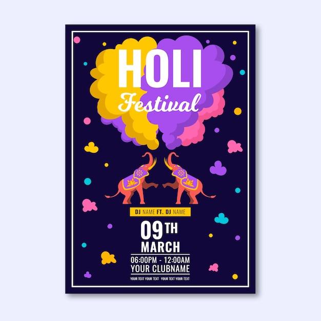 Cartel de festival holi de diseño plano vector gratuito