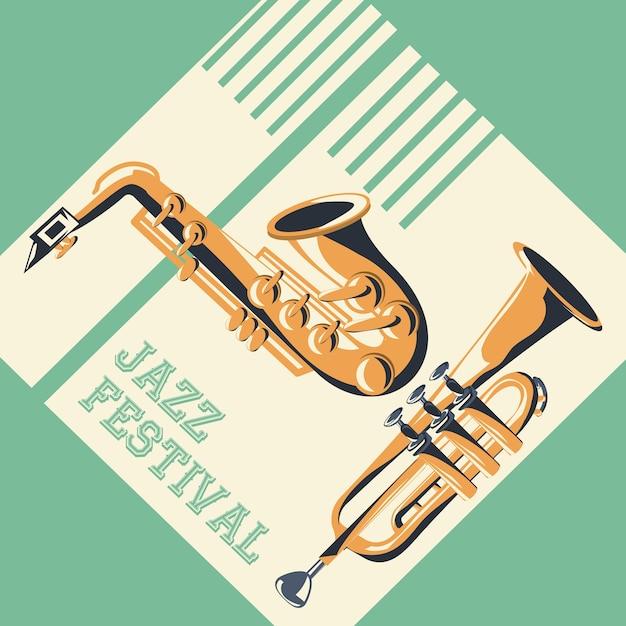 Cartel del festival de jazz Vector Premium
