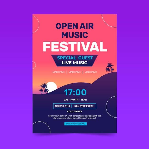 Cartel del festival de música al aire libre. vector gratuito