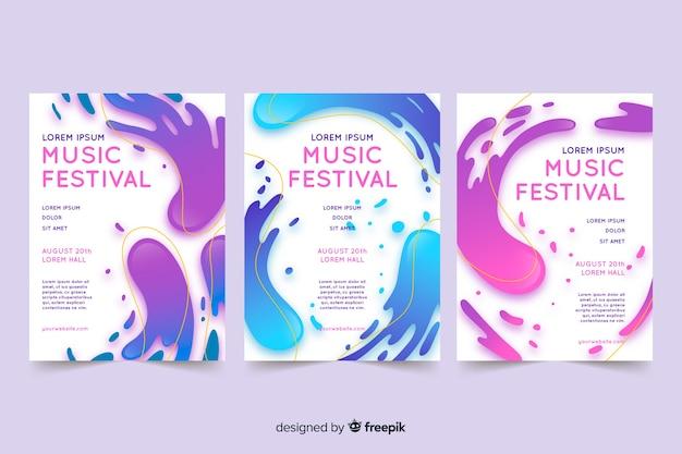 Cartel de un festival de música con efecto líquido. vector gratuito