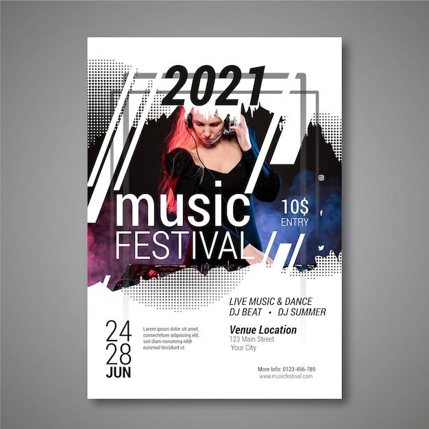 Cartel del festival de música de fiesta con dj femenino vector gratuito