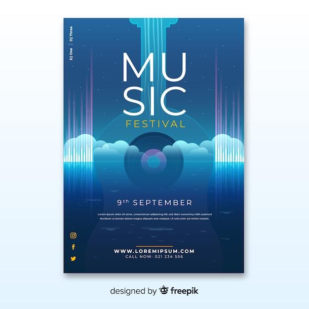 Cartel festival de música con ilustración degradado vector gratuito