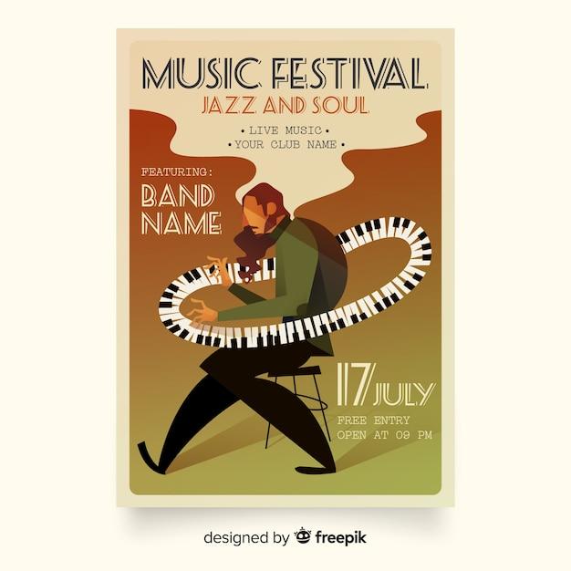 Cartel de festival de música de ilustración degradado vector gratuito