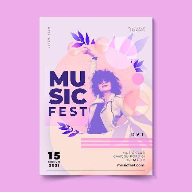 Cartel del festival de música mujer con gafas de sol vector gratuito